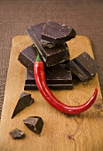 Pieces of chocolate with chilli