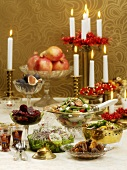 Salads and accompaniments on Christmas table