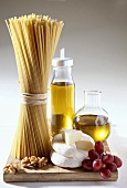 Ingredients for Italian dishes (spaghetti, olive oil etc.)