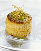 Leek and ham vol-au-vent with Cheddar cheese