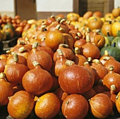 Hokkaido pumpkins, in a a pile