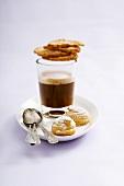Espresso in glass, biscuits
