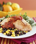Salmon with tomato salsa, black beans and sweetcorn