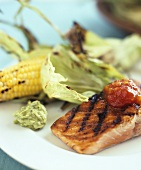 Grilled salmon fillet with tomato relish & corn on the cob