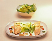 Salmon fillet with strips of leek
