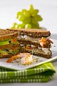 Club sandwich with prawns
