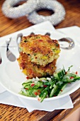 Crab cakes with cucumber relish