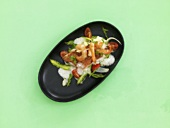 Red mullet with prawns on asparagus salad