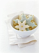 Snowflake biscuits in a bowl