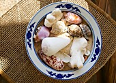 Plate of sand and shells (Seychelles)