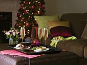 Champagne, sandwich, savoury quiche, salad & Christmas tree