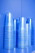 Stacked plastic cups