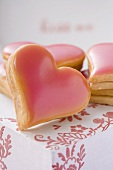 Heart-shaped biscuits for Valentine's Day (close-up)