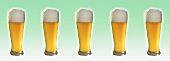Five glasses of wheat beer