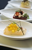 Red snapper with saffron and pieces of pear