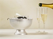 Caviar on ice with champagne
