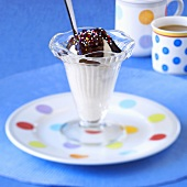 Ice cream sundae with chocolate sauce and sprinkles