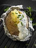 Baked potato with herb quark
