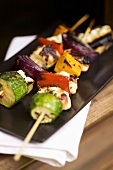 Grilled cheese and vegetable kebabs