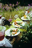 Watercress salad with smoked salmon