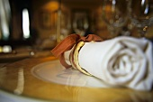 Place-setting with white fabric napkin