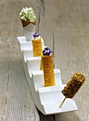 Chicken in nut crust, cheese with caviar & basil ice cream