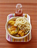 Noodles with sweet and sour sauce