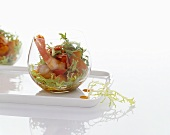 Frisee salad with chilli prawns