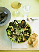 Mussel soup with gooseberries, cucumber, fennel & chervil