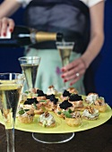 Savoury appetisers for a party or champagne reception