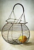 A lemon in a wire basket