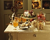 Winter buffet of apple punch, cakes and biscuits