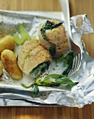 Charr rolls with basil in celery and lime sauce