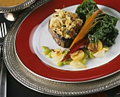 Filet mignon with chestnut and onion crust and chard