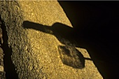 Shadow of a wine bottle and a glass, Clos du Joncuas