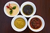 Mango mustard, chilli aioli, tomato salsa, olive & basil sauce