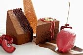 Dessert: chocolate & cherry sponge cake and cherry sorbet