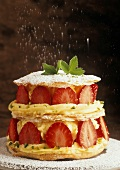 Strawberry millefeuille with creme mousseline