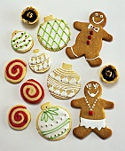 Decorated biscuits and gingerbread men for Christmas