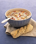 Vegetable chowder with bread twist