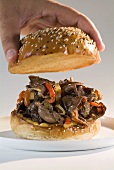 Philly steak sandwich (Beef, peppers & onions in bread roll)