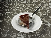 A piece of chocolate fudge cake