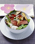 Venison fillet with Asian vegetables and rice