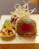Tuna en croute with mango chutney