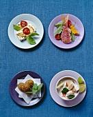 Internationale Snacks: Schafskäse, Rotbarben, Felafel, Kokossuppe