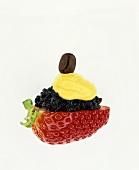Unusual combination: strawberry, caviar, mustard & coffee