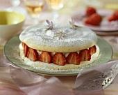 Meringue cake with mascarpone and strawberry filling
