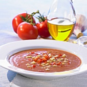 Spicy tomato gazpacho with diced cucumber and red pepper