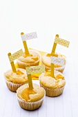 Five fruit muffins with place-cards