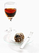 Rum ball with coconut